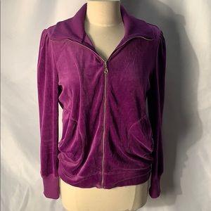 Soma Purple Velour Zip Up With rhinestone accent